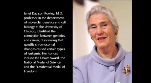 Janet Davison Rowley, MD* (1925 - 2013) University of Chicago Molecular Genetics and Cell Biology Image courtesy of Mdanderson.org
