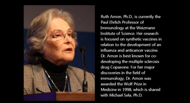 Ruth Arnon, PhD Weizmann Institute of Science Immunology Image courtesy of I-core.org.il